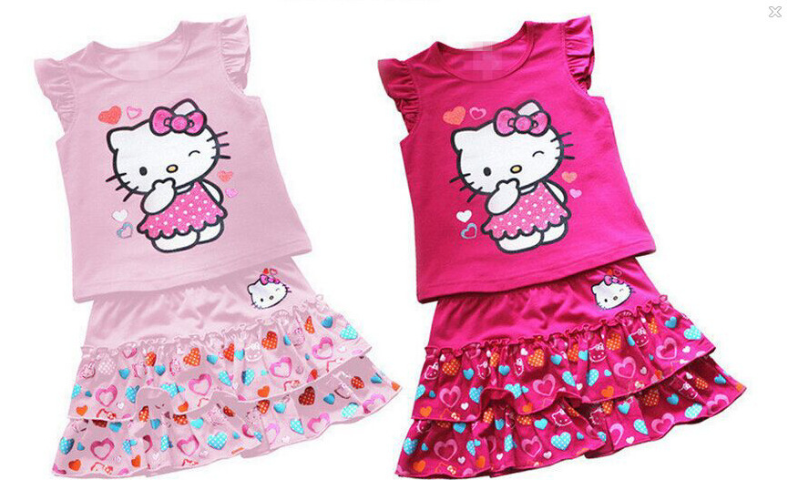 2015 summer style children dress girls two-piece suit kitty girl suit Pink suit princess sofia dress baby girls dress(China (Mainland))