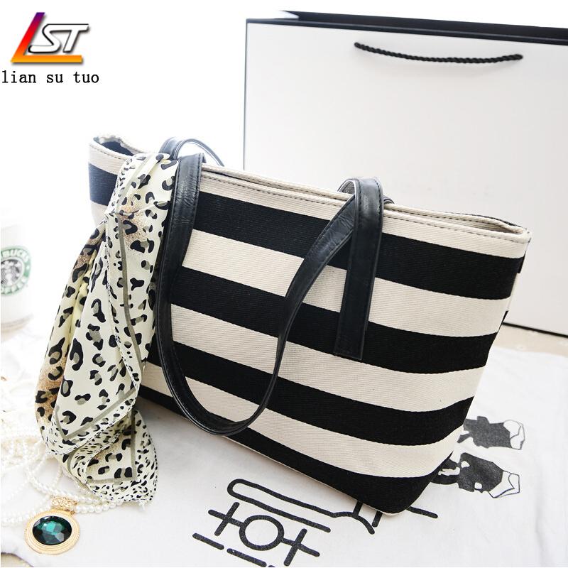 2015 New Casual Tote Bags Women Handbags Female Crossbody Bags All match Chic Girls Handbags stripe