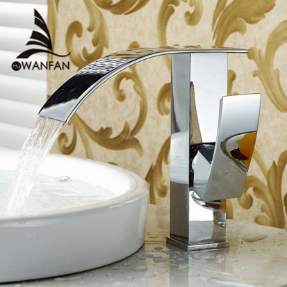 Фотография Free Shipping Wholesale And Retail Promotion Chrome Finish Brass Deck Mounted Waterfall Bathroom Basin Faucet Sink Mixer Tap 514