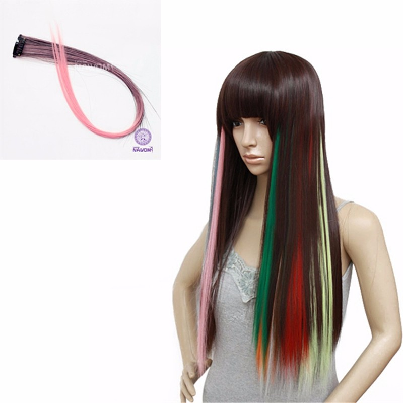 New Party 20 Long Solid Colored Colorful Clip On In Hair Extensions One Piece 2 Clips Ombre Pink Colour Highlights Punk Hairpi<br><br>Aliexpress