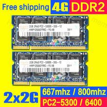 Hynix 4GB (2x2GB) PC2-5300S DDR2 800MHZ 667MHZ 2gb 200pin  Laptop Memory 2G pc2-5300 Notebook Module SODIMM RAM Free Shipping(China (Mainland))