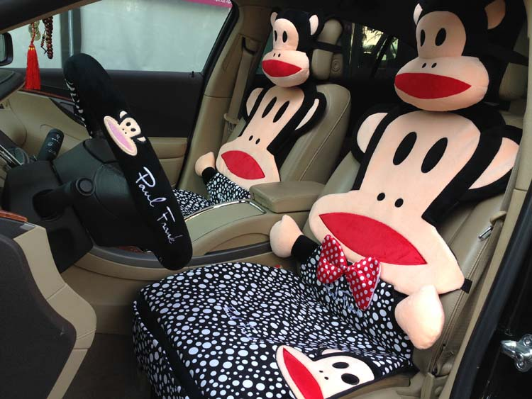 fashion polka dot car seat covers cute cartoon monkey auto seats cover full set front back seats. Black Bedroom Furniture Sets. Home Design Ideas