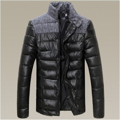 new winter leisure fashion warm men cotton padded clothes splicing stand collar men jacket