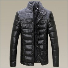 new winter leisure fashion warm men cotton-padded clothes splicing stand collar men jacket