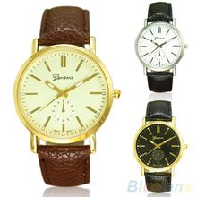 Hombres de la moda de ginebra casuales Faux Leather Band cuarzo analógico reloj de pulsera 27Z3