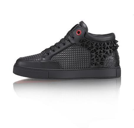 2015 new men s genuine leather casual shoes woven black with rivets outdoor famous brand royaums
