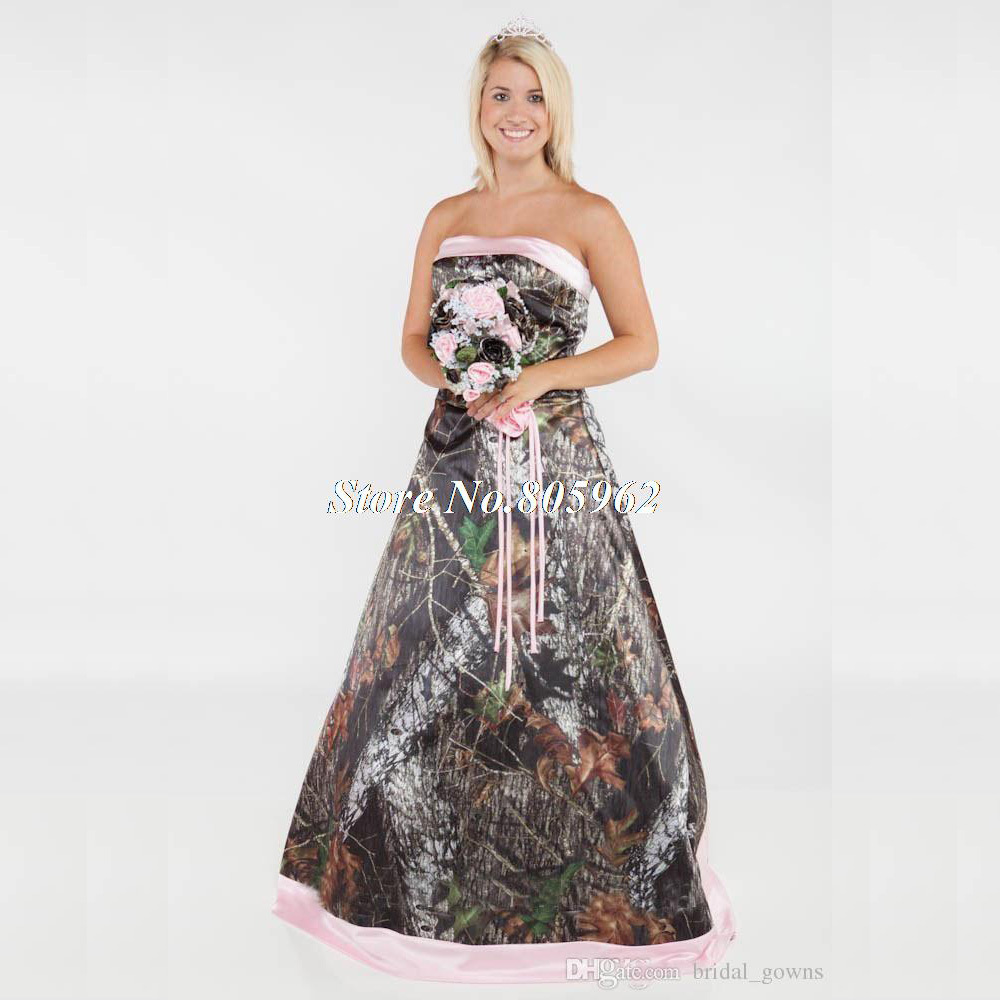 Vintage 2015 Long Camouflage Wedding Dress Strapless Lace