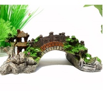 Aquarium Decoration Bridge Rockery Fake Rock Bridge Landscape Pavilion Tree For Fish Tank Resin Ornament Decoration(China (Mainland))