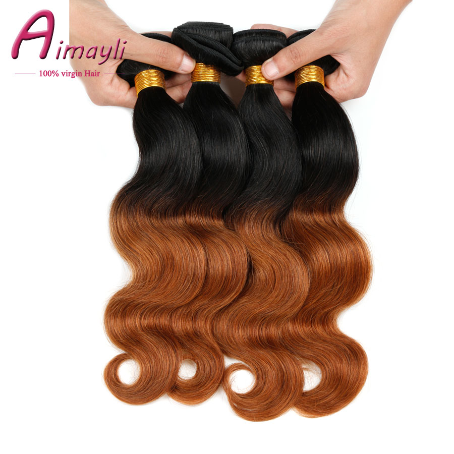 Ombre Hair Extensions 1B 30 Brazilian Body Wave Virgin Hair 4 Bundles Ombre Brazilian Hair Unprocessed Ombre Human Hair Weave