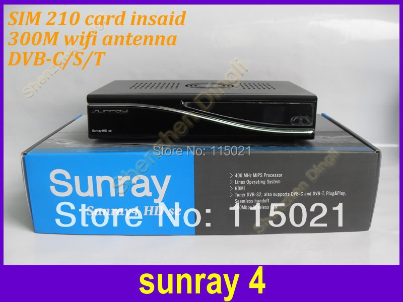 sunray 800 hd se sr4 triple tuner sim 210 dm800hd se satellite receiver no dish with internet connection 3 in 1 Tuner DVB-S/C/T(China (Mainland))
