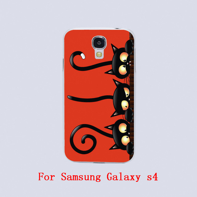 black cat halloween Design White skin phone cover cases For Samsung Galaxy S3 9300 /S4 /S5 /S6 /S6 Edge