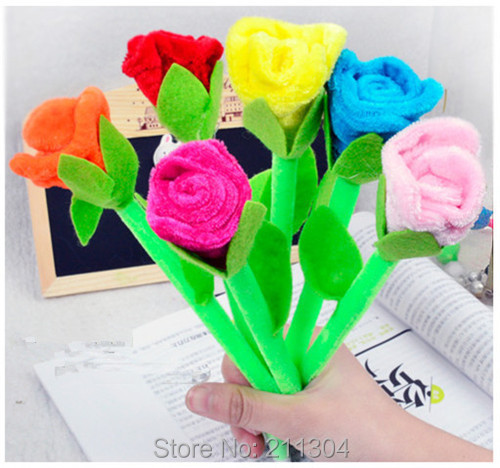 Free shipping Plush Roses Toys 6pcs/lot office school kid girl stationery creative gadget can also write surprise valentine gift(China (Mainland))