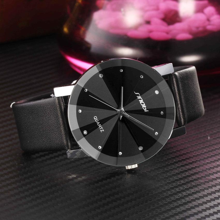 2015 New SINOBI Watch Luxury Brand Diamond Crystal Silver Case Elegant Men Quartz Wrist Gift Dress Men's Leather Strap Watches(China (Mainland))