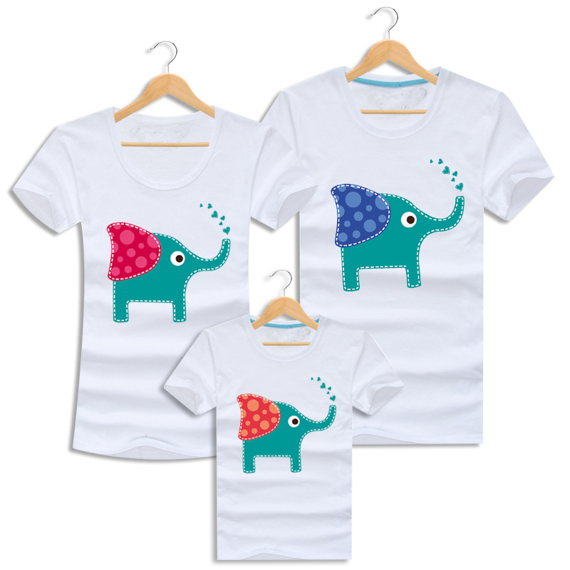 2016 Summer Family Matching Outfits Elephant Mother Daughter Clothes Cotton Short-sleeve Father Son T-shirt Family Look Clothing<br><br>Aliexpress
