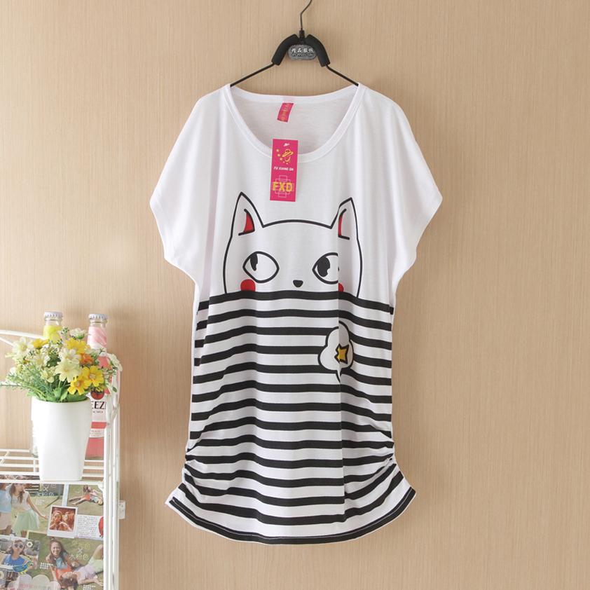Top Sale Cartoon Animal Print t Shirt Women Tops Tees Short Sleeve T-shirt Mouse Printed Summer Loose Plus Size Women T shirt(China (Mainland))