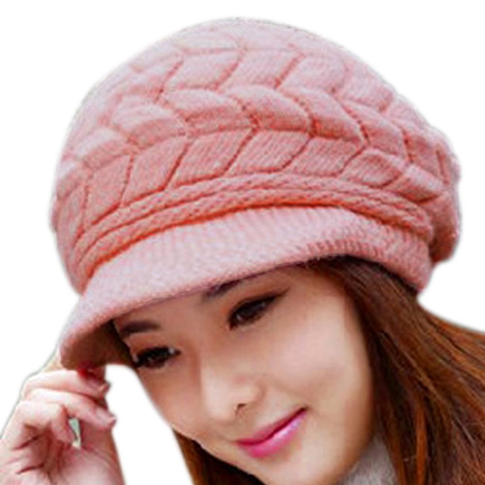 Womens Winter Hats for Women Slouchy Openings Fluffy Knit Beanie Crochet Hat Brim Cap Knitting Caps(China (Mainland))