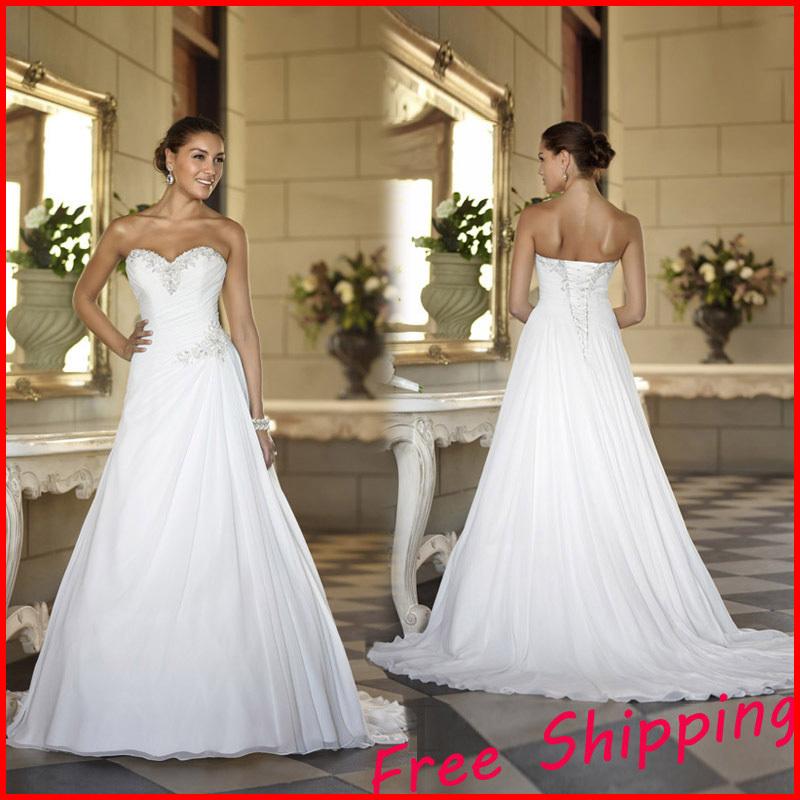 Stock Cheap Chiffon Beach China ball gown Elegant Backless Bridal Dress Plus Size 2015 a line Wedding Dresses 2014(China (Mainland))