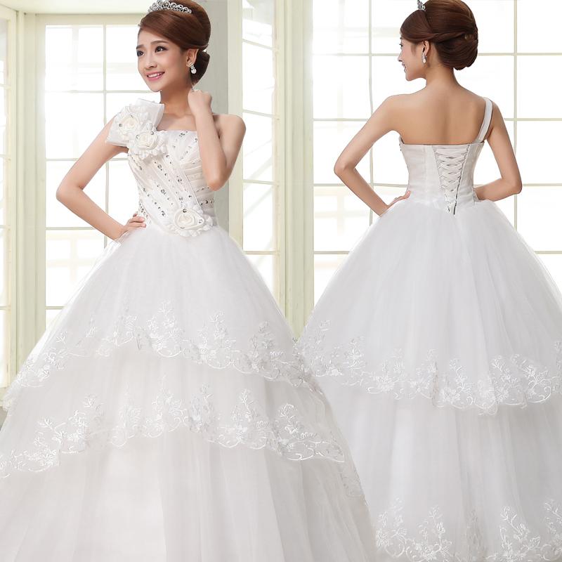 PTH- HZWH40# Summer 2015 new wedding dress Korean version of sweet princess shoulder harness straps wedding flowers and ground(China (Mainland))