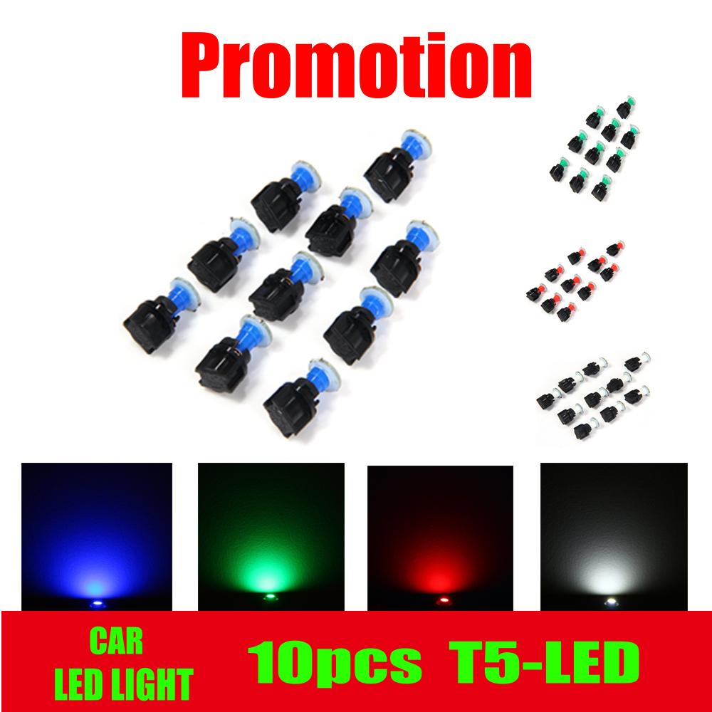 10pcs T5 Car Dashboard Light DC12V LED smd Car LED Lamp Twist Socket Instrument Panel Dash Light Bulb White/Blue/Green/Red Light(China (Mainland))