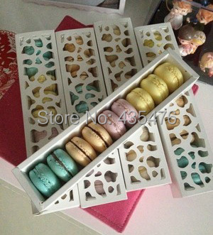 DHL 100pcs/lot Long White 26*6*4cm Hollow Macaron Box Cupcake Container Valentine Chocolate Packing Wedding Baking Package(China (Mainland))