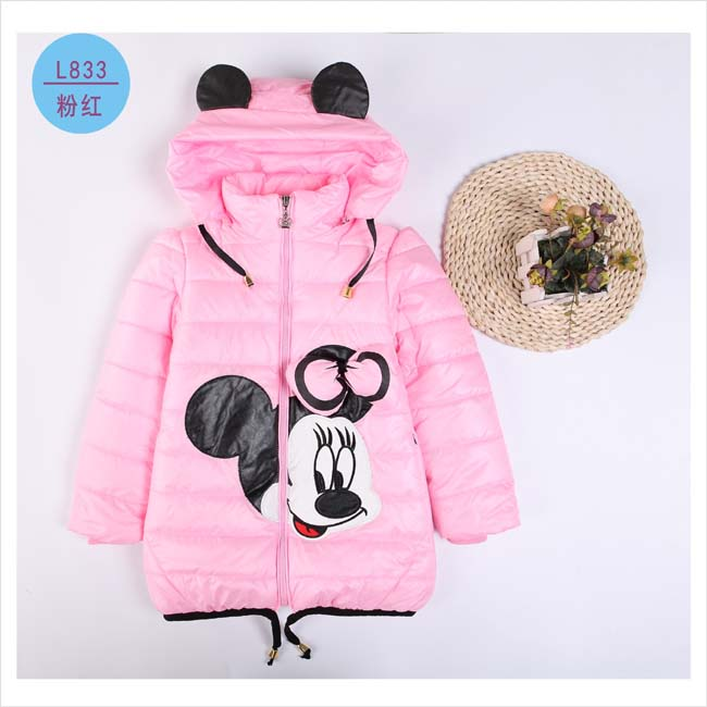 2016 Girls Winter Coats&Ourwear Children Minnie Cartoon High quality winter Jacket,Baby Girls Cotton Long Sleeves Coat(China (Mainland))