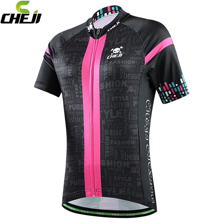 2016 CHEJI women bike jerseys mtb team bicycle jersey clothing ropa ciclismo cycling wear black pink cycling short jersey(China (Mainland))