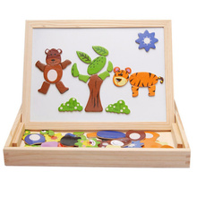 Wooden Multifunction Children Animal Puzzle Writing Magnetic Drawing Board Blackboard Learning Education Toys For Kids(China (Mainland))