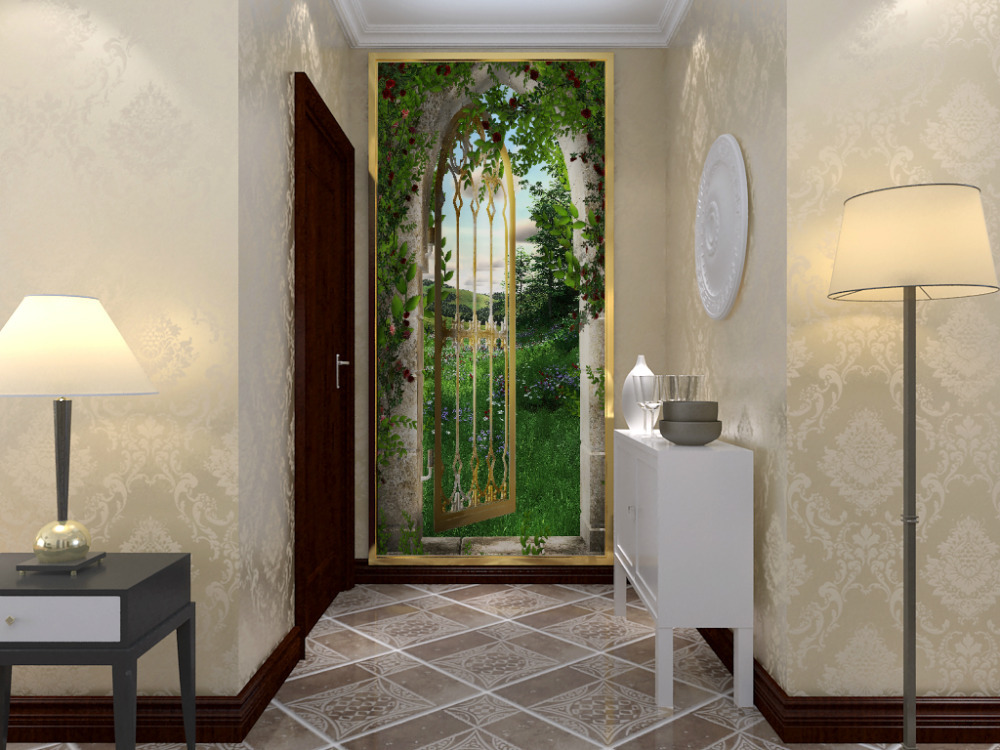 Free shipping eco friendy 3d mural the door open for for Door mural wallpaper