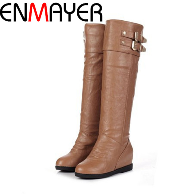 ENMAYER New Knee High Heels Booties 2013 Fashion Platform Wedge Shoes Womens 4 Color Snow Boots