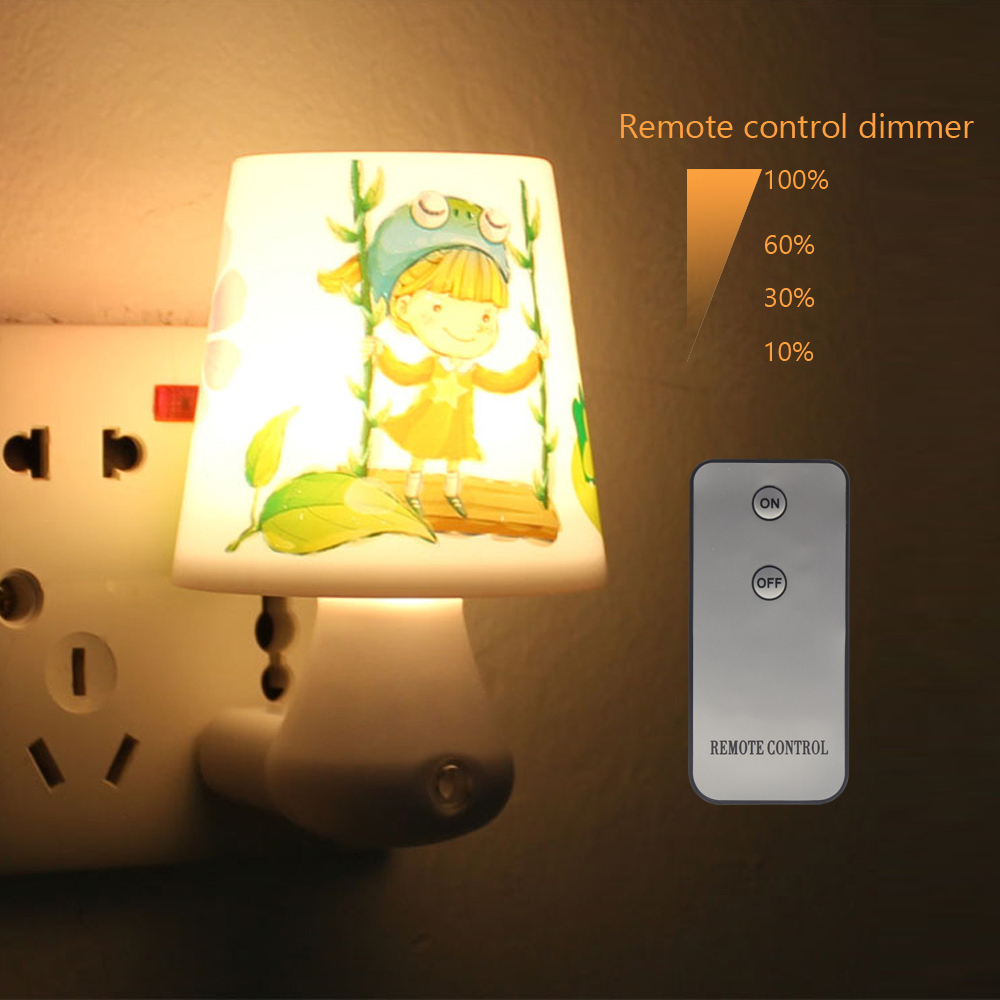 Led night light lamp 0 5w ac220v white warm white with remote control dimmer baby nightlight for - Remote control night light ...