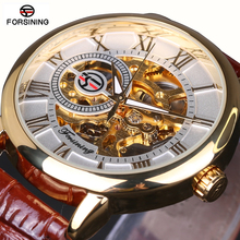 2016 FORSINING Fashion Design Black Gold Watch hand wind mechanical watch for men black leather band