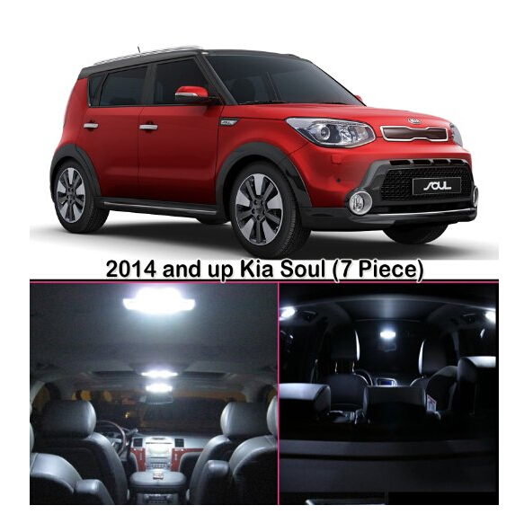 free shipping 7pcs lot xenon white premium package kit led interior lights for kia soul 2014. Black Bedroom Furniture Sets. Home Design Ideas