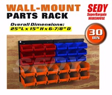 30 PC Bin Wall Mounted Storage Solution Rack Nuts & Bolts Organizer Small Parts 97904 - SEDY COMPANY store