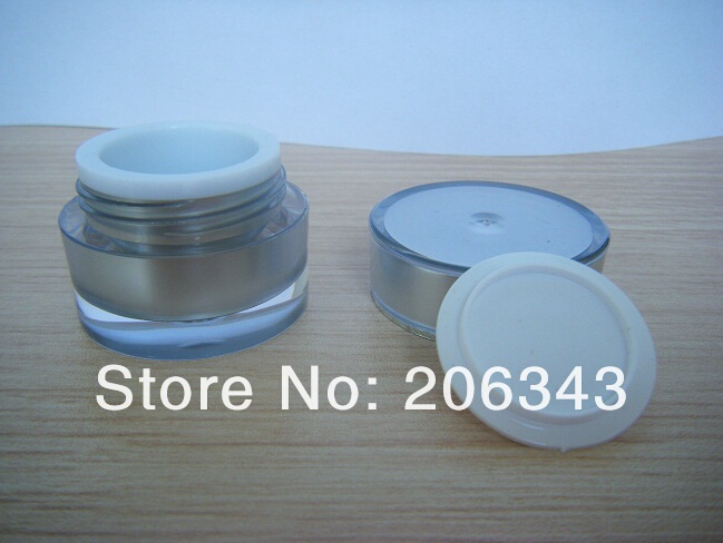 5g Silver ACRYLIC cylinder shape cream bottle,cosmetic container,,cream jar,Cosmetic Jar,Cosmetic Packaging - all packing you want store