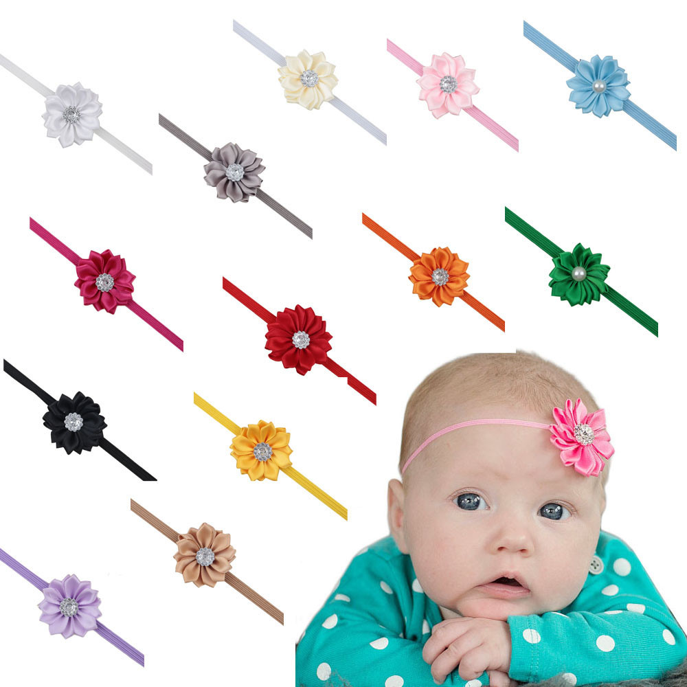 2016 hot sale fashion cute Baby Girls Headbands cloth Rhinestone Flower Hair Accessories For Girls Hair Band free shipping(China (Mainland))