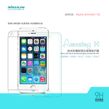 1PC Nillkin 9H Amazing Anti-Explosion flat edge 0.33mm Tempered Glass Screen Protector For Apple iPhone 5/5s Free shipping