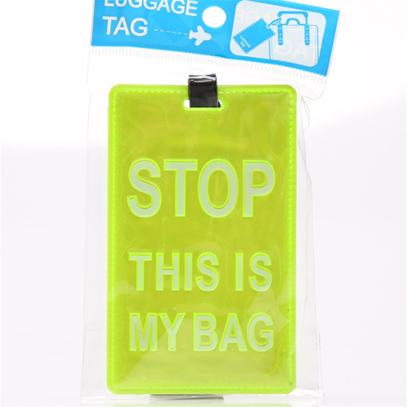 STOP! THIS IS MY BAG! 2015 New Style Fluorescent Light Green Color Travel Suitcase Bag Tag / Luggage Tags 11*7.5CM(China (Mainland))