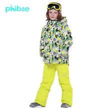2015FREE SHIPPING phibee kids ski warm suit winter boys clothing set children skiing suit jacket pant
