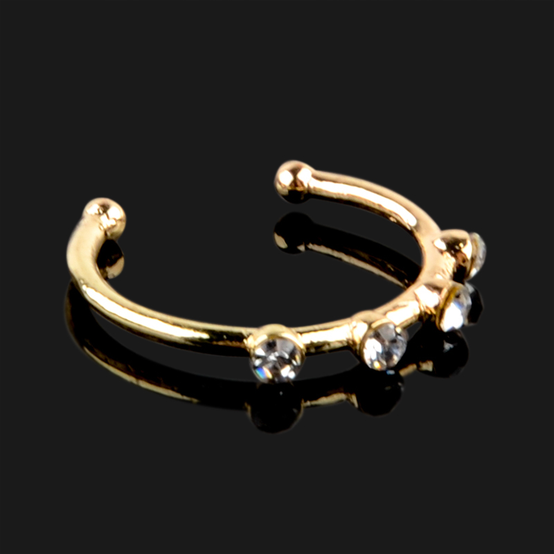 1 PC Ajustable 4 Crystal Circular Nose Hoop Ring Small Thin Silver Gold Size Piercing Jewelry For Women Men Nose Jewelry