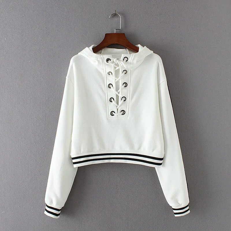 Women Lace Up Hooded Casual Sports Hoodies Girls Cropped Sweatshirt(Hong Kong)