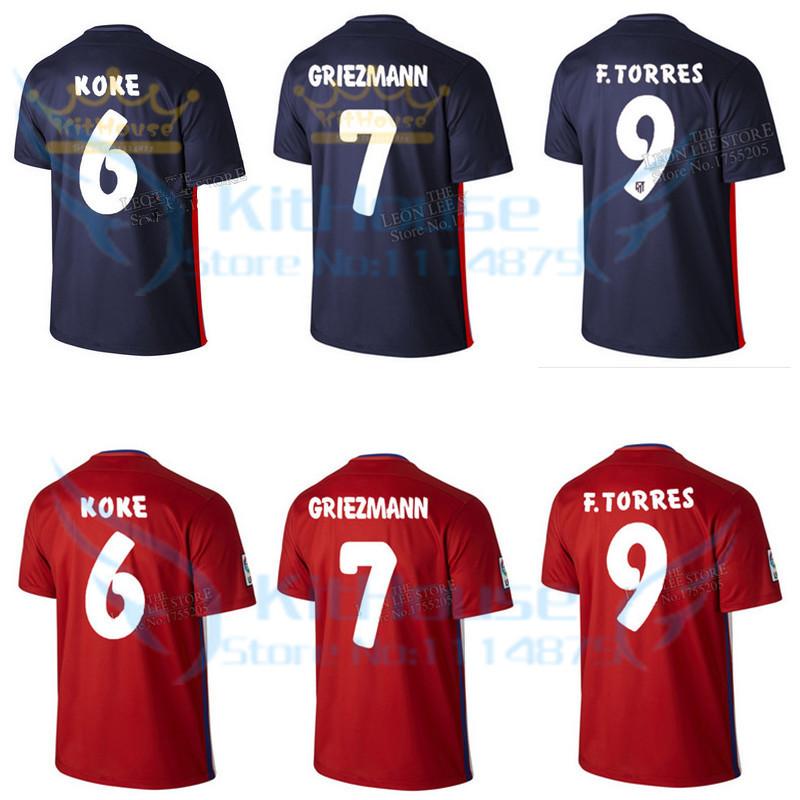 NEW!Thai quality 15 16 La Liga Madrid soccer jersey KOKE home football shirt TORRES GRIEZMANN away blue uniforms player version(China (Mainland))