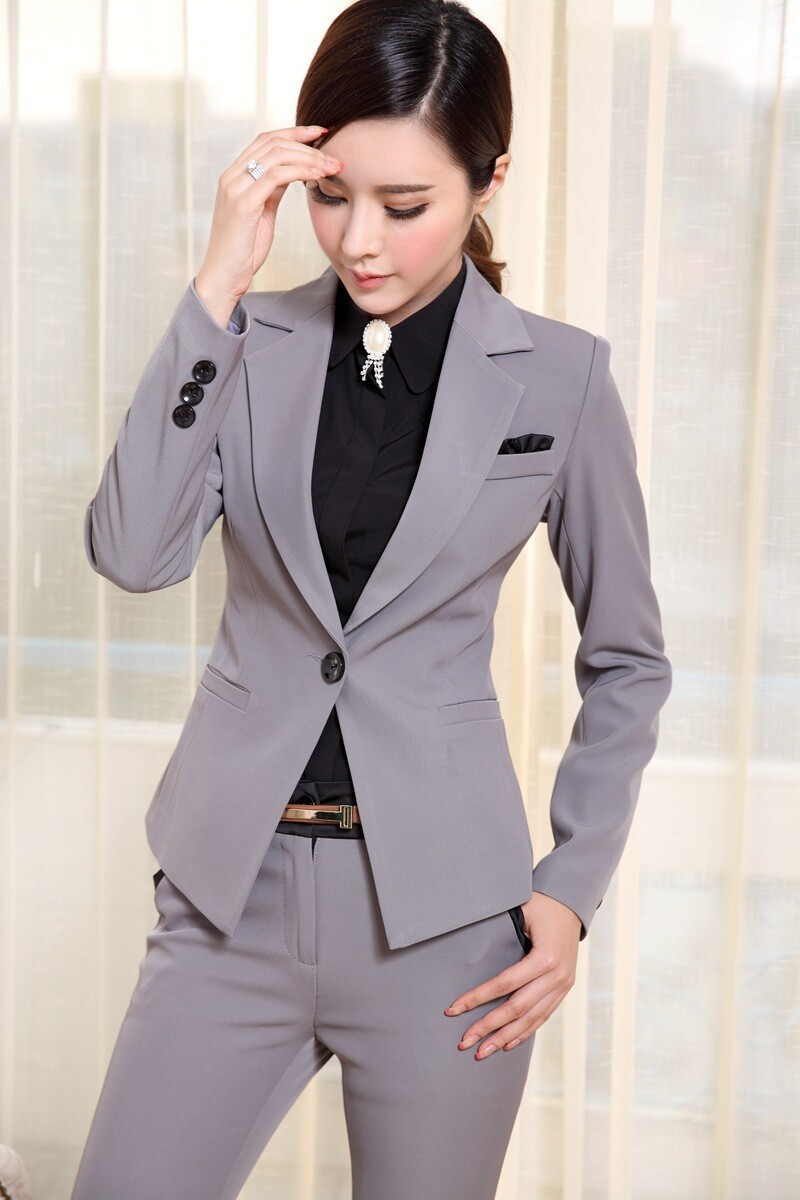 Womens Suits Blazer With Pants New 2015 Fashion Formal Office Ladies Uniform Designs Woman Pant ...