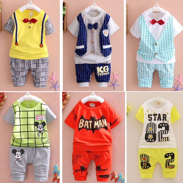 2015 New Summer baby Sport suit 100% cotton fashion design baby boys clothing set for 1 2 3 Years Old A095-6(China (Mainland))