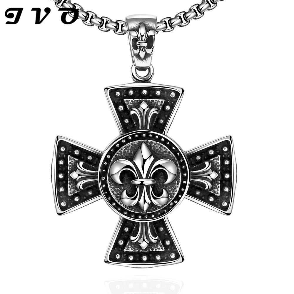 Men Jewelry Necklace Men Chain Steam Punk stainless Steel Silver Pendant 316L Black Cross for Party For Men Women(China (Mainland))