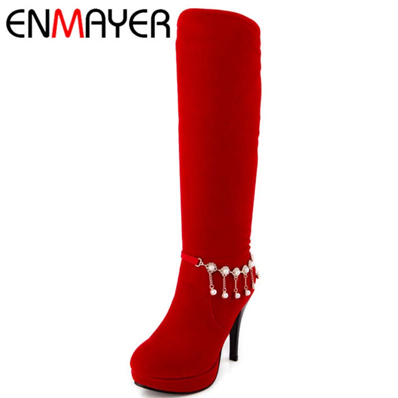 ENMAYER Big Size 42 Advanced Flock Nubuck Leather Knee High Round Toe Thin Heels Boots For Women 2 Colors New Fashion Long Boots<br><br>Aliexpress