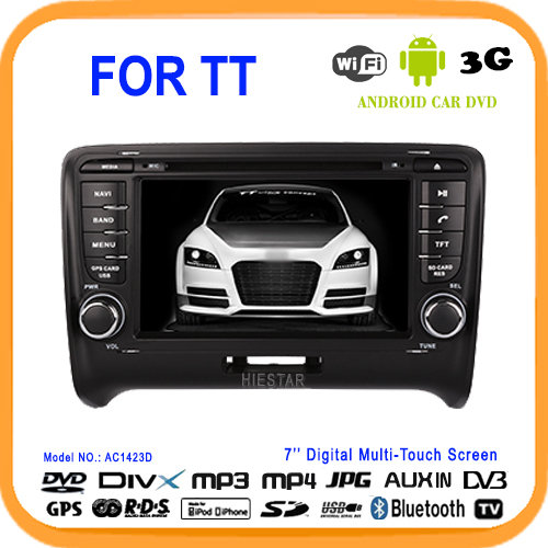 Car DVD Radio Player FM CD head unit 7'' Capacitive touch screen Android 5.1 Quad Core WIFI for Audi TT 2006 07 08 09 10 11(Hong Kong)
