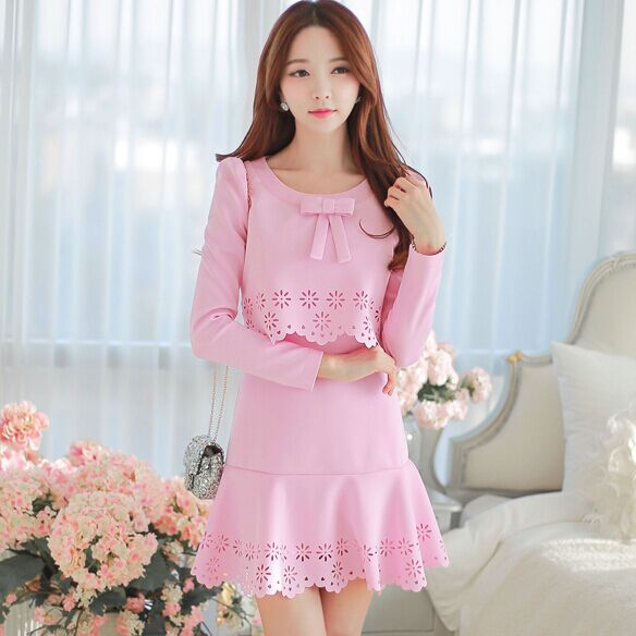 Original New 2015 Brand Spring and Autumn Plus Size Slim Elegant Casual Pink Dress Vestidos Women WholesaleОдежда и ак�е��уары<br><br><br>Aliexpress