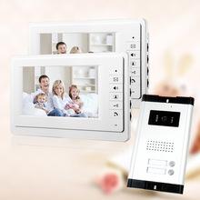 """Freies Verschiffen neue 7 """"Video Intercom Apartment Video-Türsprechanlage 2 Weiß Monitor 1 HD Kamera für 2 Haushalt auf Lager Großhandel(China (Mainland))"""