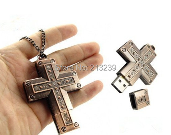 New Metal Copper Cross Pendant usb 2.0 memory flash stick pendrive genuine capacity USB stick(China (Mainland))