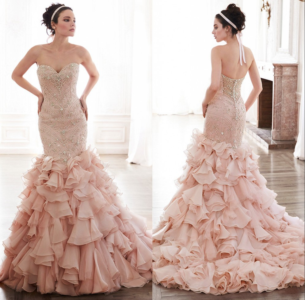 Pink ruffle wedding dress efficient for Wedding dresses with ruffles